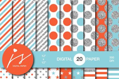 Glitter silver digital paper, MI-958