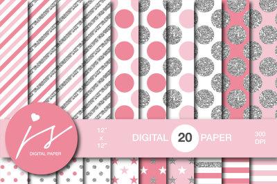 Glitter silver digital paper, MI-959