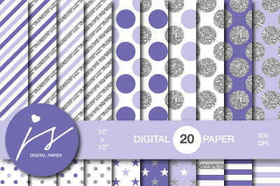 Purple silver glitter digital paper, MI-960