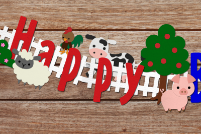 Farm Animal Party Banner Bundle | SVG | PNG | DXF