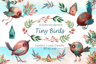 Tiny Birds - Watercolor Clip Art Set