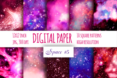 Red galaxy digital paper. Starry sky and Science fiction