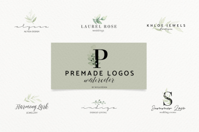 Premade Logo bundle watercolor greenery templates