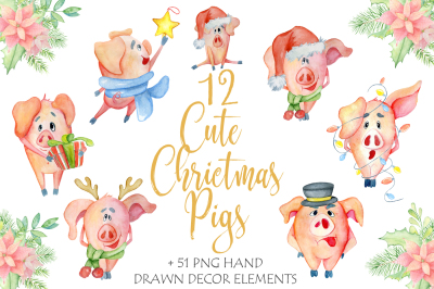 Cute Christmas watercolor pigs