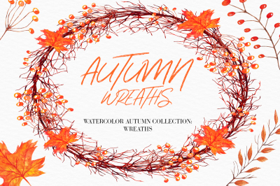 Watercolor Autumn Wreaths clipart