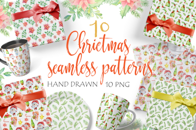Christmas seamless patterns with pigs