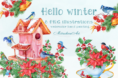Hello winter ! watercolor illustrations
