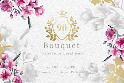 Bouquet of pink flower PNG watercolor pack