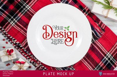 Plate Mock up for Christmas, Holiday styled stock photo. High-res JPEG