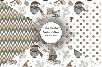 4 Christmas Seamless Patterns