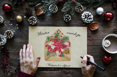 Winter envelope. Watercolor clipart