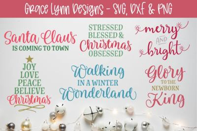 Christmas Cut File Bundle - SVG, DXF, PNG
