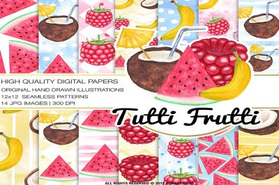 Fruits Digital Paper,Watercolor Fruit Poster, Hand Painted Fruits