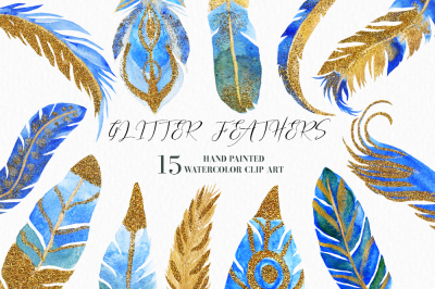 Watercolor Feathers Clipart, Gold Feathers, Glitter Feathers