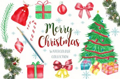 Watercolor Christmsa Clipart, Merry Christmas Clipart