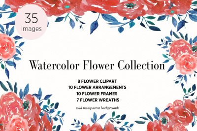 Watercolor Flower Clipart, Arrangements, Frames, Wreaths