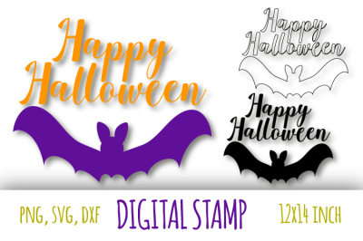 Happy Halloween svg. Bat silhouette cut files