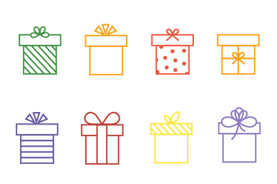 Vector multicolor gift boxes thin line icons set