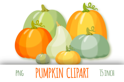 Pumpkin clipart. Autumn digital stickers