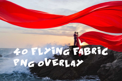 40 flying fabric Photo Overlays in PNG, Photography
