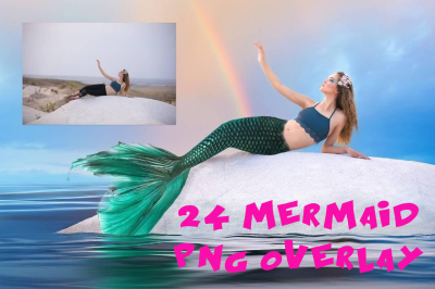 24 mermaid Photo Overlays in PNG, Photography