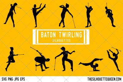 Baton Twirling Silhouette Vector