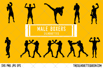 Male Boxers Silhouette Vector