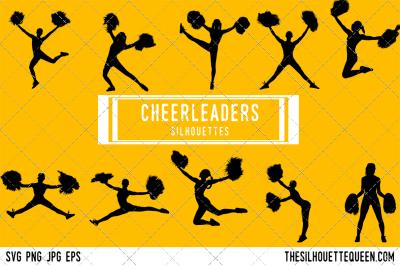 Cheerleaders  Silhouette Vector