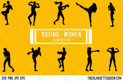 Female Boxer  Silhouette Vector