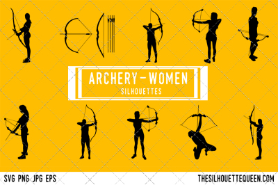 Female Archer Silhouette Vector