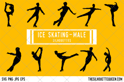 Male Ice Skating  Silhouette Vector