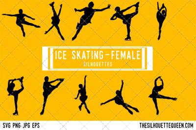 Female Ice Skating  Silhouette Vector