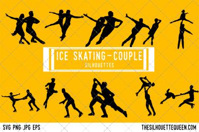 Ice Skater Couple  Silhouette Vector