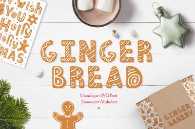 Gingerbread Christmas color SVG font
