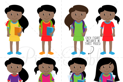 African American Female Student Clipart and Vectors