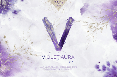 Violet Aura - watercolor design kit