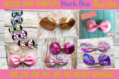 6 Styles Pinch Center Hair bow Template Bundle