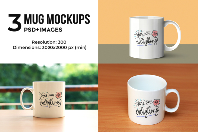 3 Mug Mock-ups@ $1 for limited period