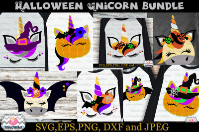 SVG, Eps, Dxf & Png Files For Halloween Unicorn Bundle