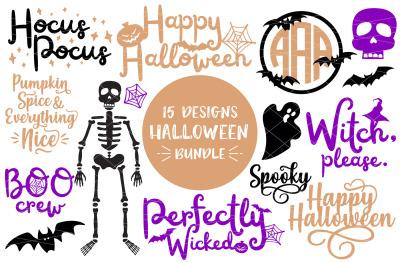 15 Halloween Designs Bundle SVG-DXF-PNG