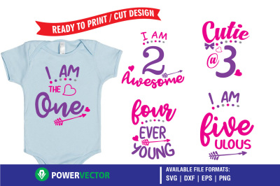 Kids Birthday Party T-Shirt Designs - Printing, Cutting Files