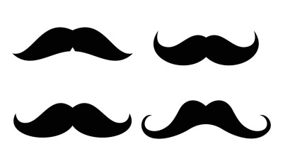 Vector mustaches icons set in black and white
