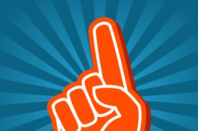 Bright orange foam hand vector illustration