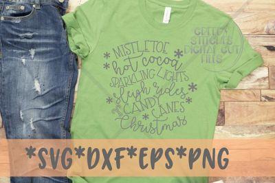 Christmas SVG | Mistletoe, Hot Cocoa, Lights SVG DXF EPS PNG