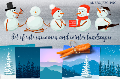 Set of cute snowmen and winter landscapes
