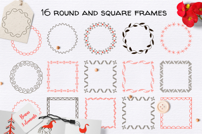 16 round and square frames