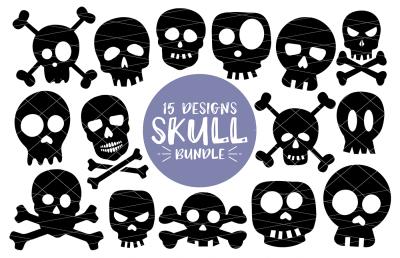 Halloween Skull Bundle - 15 Designs SVG-DXF-PNG