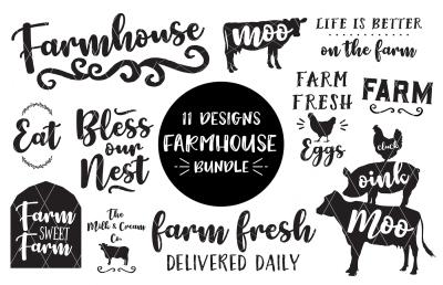 Farmhouse SVG-DXF-PNG-EPS Bundle 11 Designs