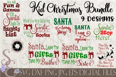 Kid Child Christmas SVG Bundle