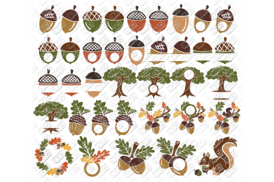 Acorn SVG Oak Tree Leaves Bundle in SVG, DXF, PNG, EPS, JPEG